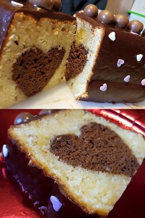 Cake surprise coeur cach�, chocolat amande