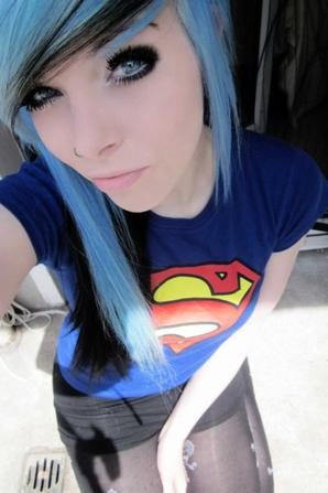 ira vampira blue black emo scene hair blue grey green eyes superman