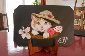 chats peints sur ardoises