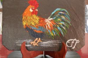 coqs peints sur ardoises