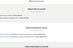 Nouvelle pr�sentation de la page d'accueil et des pages Planning de travail et Blagues & devinettes