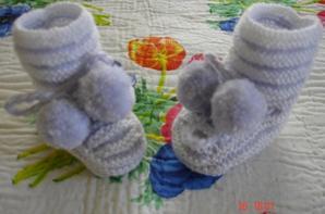 ensemble Brassi�re et ses chaussons assorties en blanc et parme