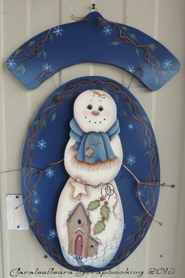 Plaque de bienvenue bonhomme de neige mod le de jmp claralesfleurs peinture d corative - Modele bonhomme de neige ...