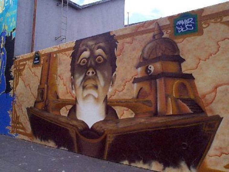 Dessin sur le mur de la rue ordener blog de paris insolite75 for Dessin geometrique sur mur