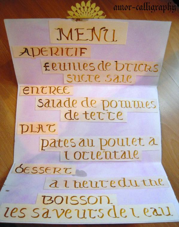 Blog de amor calligraphy page 2 l 39 amour de la for Menu pour un diner entre amis