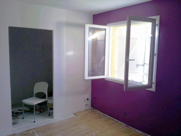 Nouvelle chambre placo peinture maison yoca for Peinture chambre violet rennes