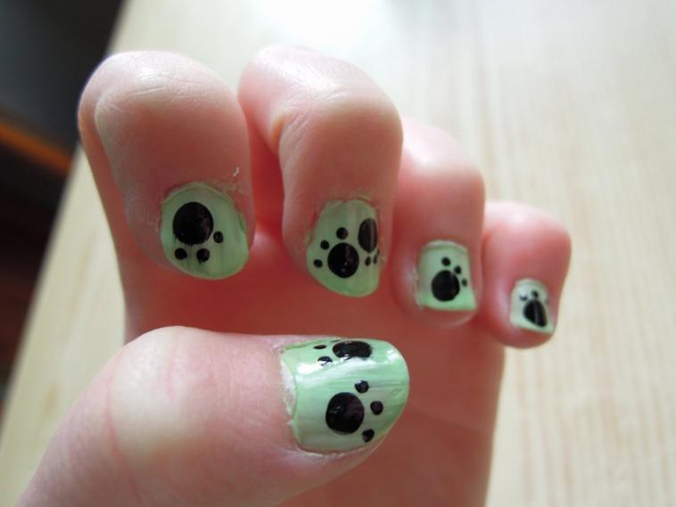 Nail art patte de chat p blog de bleuette - Nail art chat ...