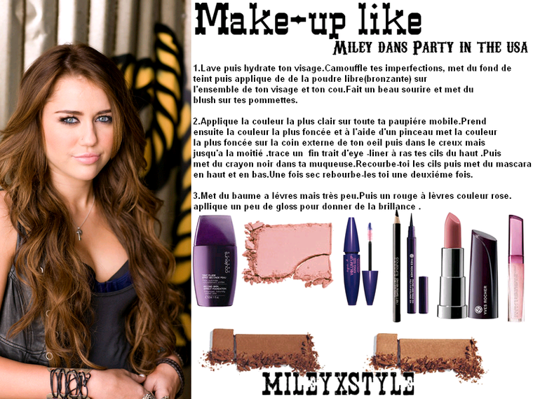 """Maquillage de Miley dans son clip """"Party in the usa """" - Ta source mode ..."""