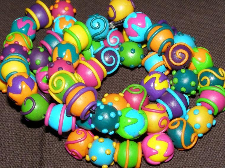 parrure collier et bracelet en perles fimo originales bijoux perles et figurines r 233 alis 233 s