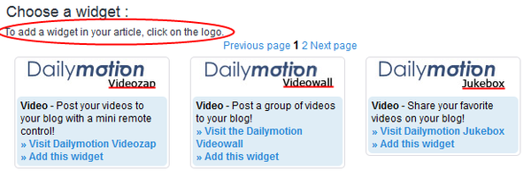 Dailymotion widgets!  Now available!
