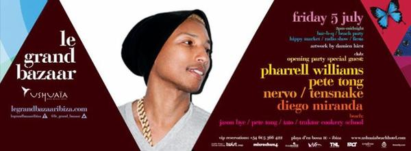 Pharrell à Ibiza le 5 juillet prochain ...