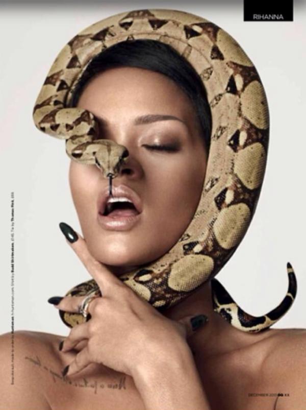 Rihanna: Nue et l�chant un serpent pour les 25 ans de l'�dition anglaise de GQ
