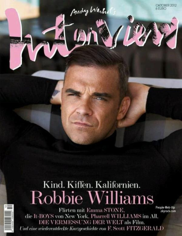 "Robbie Williams  En couverture du magazine "" Interview"""