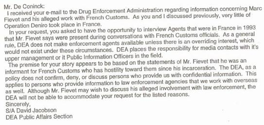 DEA - Drug Enforcement Agency refuse de témoigner