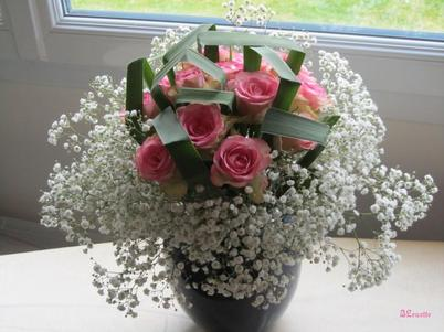 Roses, Thypha et Gypsophile