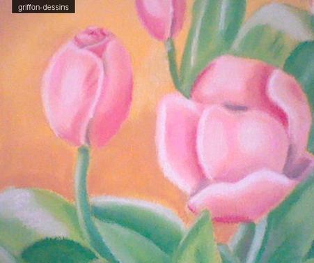 dessin fleur r aliser au pastel sec sur une toile griffon dessins. Black Bedroom Furniture Sets. Home Design Ideas