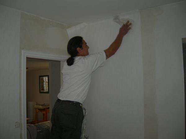 Decollage tapisserie pose de papier intisse et peinture murs et plafonds renovation en tout genre - Poser de la tapisserie intissee ...