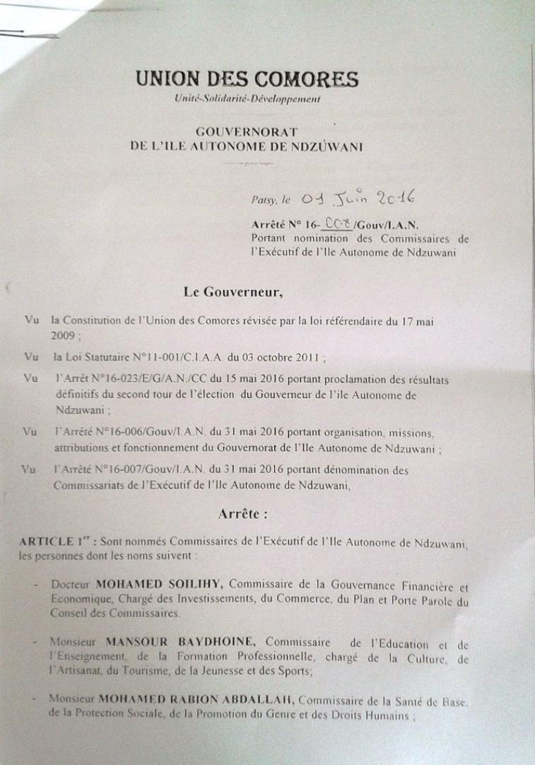 Nominations à Dar Nadjah : le Directeur de Cabinet et les six commissaires du premier gouvernement d'Abdou Salami