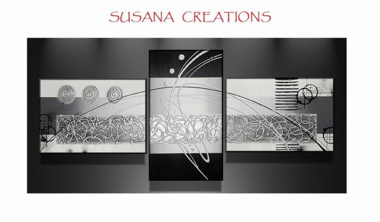 tableau design noir blanc argent blog de susana creations artiste peintre. Black Bedroom Furniture Sets. Home Design Ideas