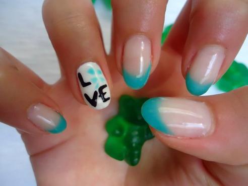 french manucure bleu vert love josephine nails. Black Bedroom Furniture Sets. Home Design Ideas