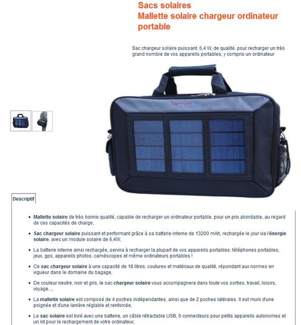 mallette solaire chargeur ordinateur portable sac chargeur. Black Bedroom Furniture Sets. Home Design Ideas