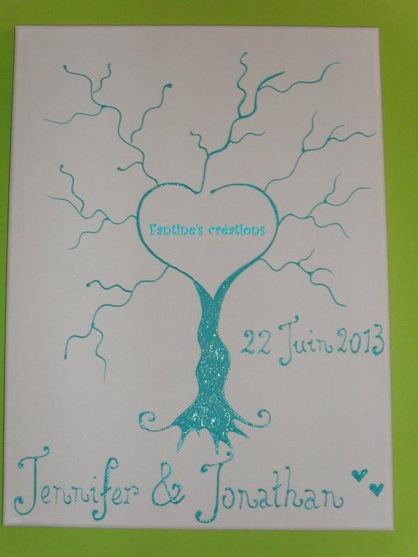 arbre empreintes fait avec peinture en relief sur toile 30 x 40 mariage 2013 fantine 39 s. Black Bedroom Furniture Sets. Home Design Ideas