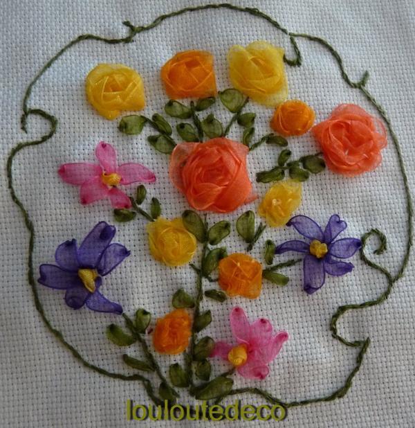 La broderie au ruban de soie est apparue en France au 18e siècle pour rehausser les robes de la cour. Les broderies étaient considérées comme un métier d'art, dont la broderie au ruban de soie. Elle était pratiquée avec des perles et des passementeries pour orner les bustiers de dentelle/5(K).