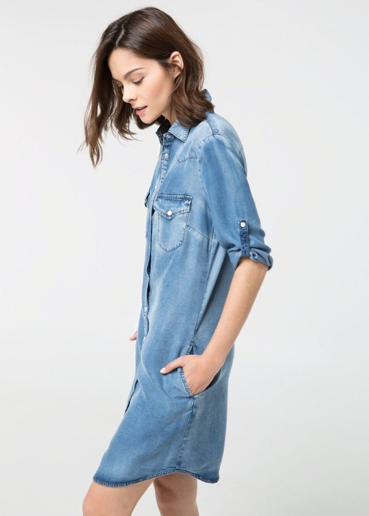 Robe denim moyen mango tendance mode femme for Robe jean mango