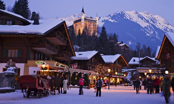 Sky holiday in Gstaad, Switzerland. Party celebrate & skiing