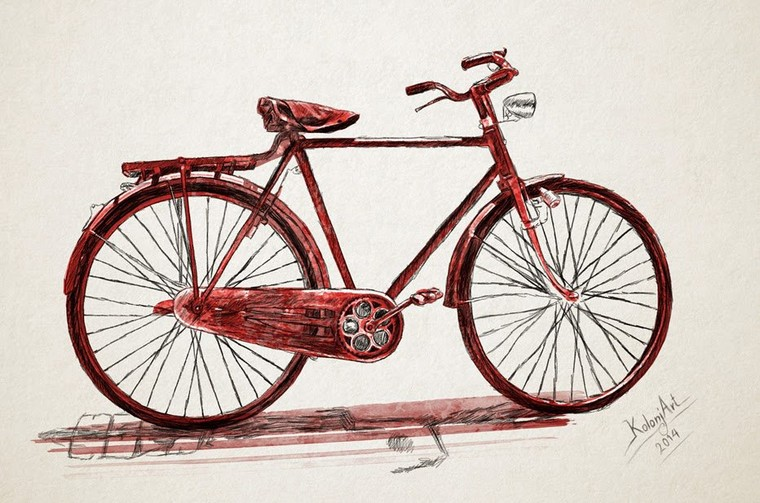 KolonjaArt: old bicycle - watercolor art