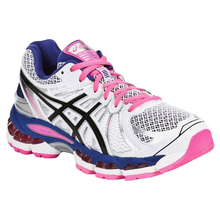 chaussures running femme gel nimbus blanc rose asics baskets decathlon tendance mode femme. Black Bedroom Furniture Sets. Home Design Ideas