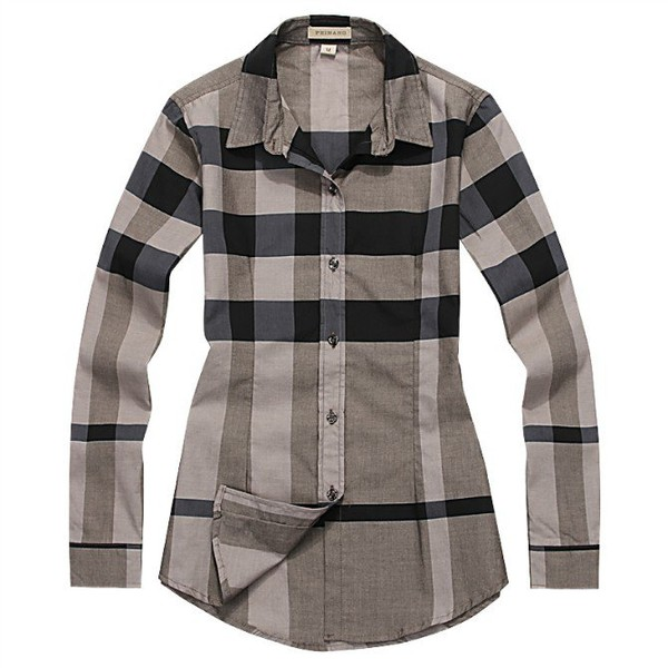 Burberry Womens Long Dress Shirt Checks For Sale Long