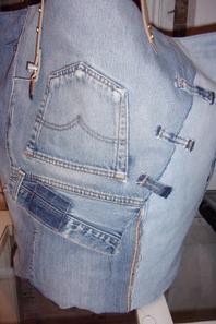 Grand bac de rangement en jean recyclé