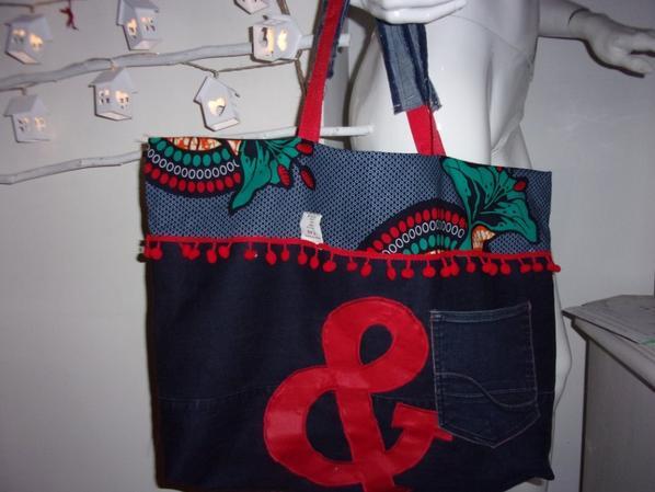 Grand sac de plage en wax et jean recyclé