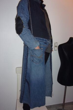 Veste longue en jean recyclé t 40-42