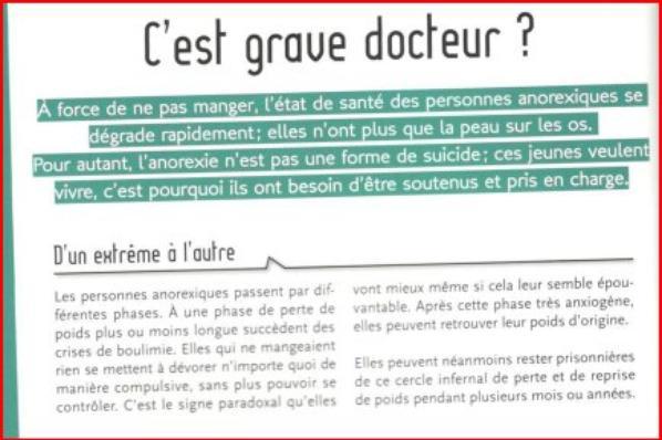 """3ème partie 'du livre """"Parlons-en ! Trop gros , trop maigre ? """" """"L'anorexie mentale c'est grave, docteur ? """" p.22 et 23"""
