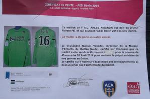 Maillot Florent Petit saison (2012/2013) au profit d'A.E.S.I Bénin (cliquez dessus pour zoomer ).