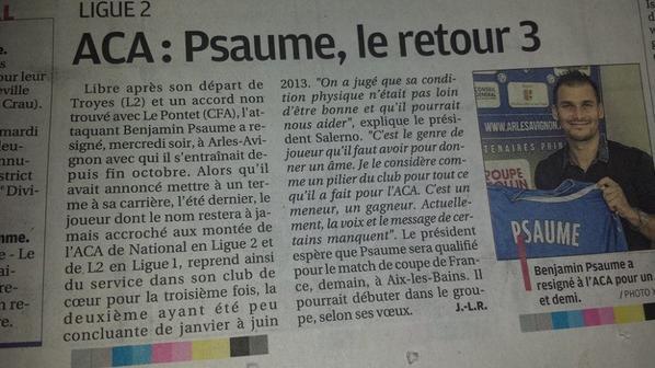 """Benjamin Psaume """"termine"""" sa carrière pro avec cette belle photo, MAIS FINALEMENT IL RE SIGNE DANS SON CLUB DE COEUR L'A.C.A. (2eme photos)"""