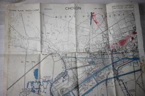 """Carte état major de 1945 d'un des quartiers de SAIGON """" CHOLON """""""