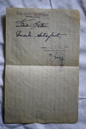 Suite des documents de Mr COMPAIN Roger maquis de Scévolle.