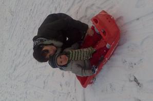 Ses 1er pas dans la neige avec son bob