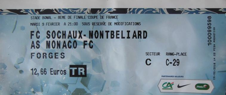 09/02/16   1/8ème DE FINALE COUPE DE FRANCE FCSM-MONACO N°14 T.GUERBERT