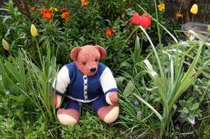 Romain viens de faire un petit tour dans notre  jardin il fait frais et garde sa petite laine.