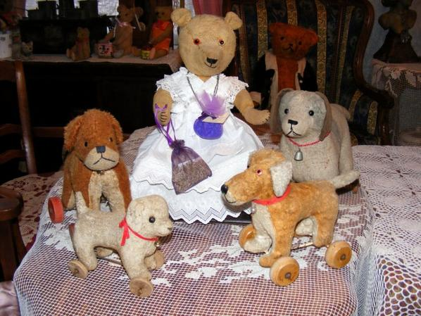 Mon ours lavande en robe blanche entourée de ces petits amis vous souhaites à tous une belle journée++++