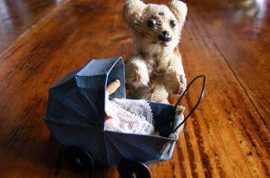 Juste reçu mon mini landau  6 cm mon petit ours Schuco est ravi++