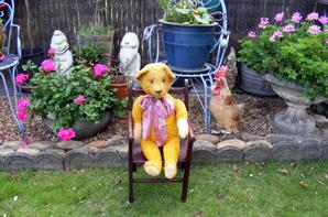 Ma petite trouvaille de hier la petite chaise .Otto profite du beau temps+++