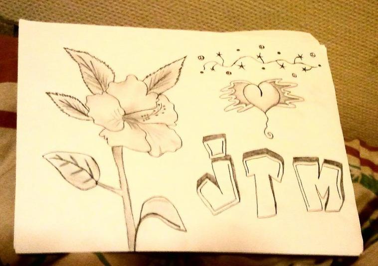 DESSiNS , fleurs,coeur,JTM,cƌnnƌ
