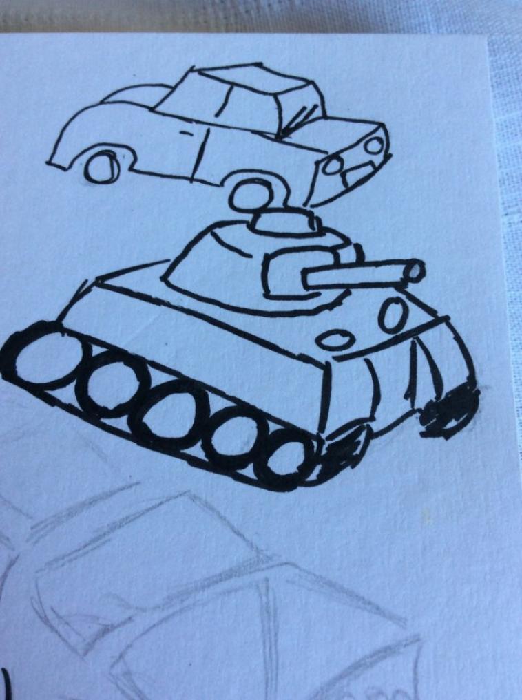 1er dessin de tanque. +un mec