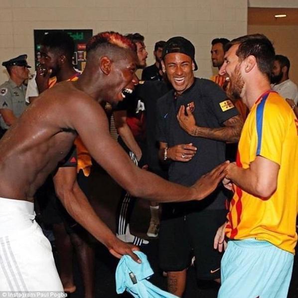 Paul Pogba avec Neymar Jr, Lionel Messi & Samuel Umtiti