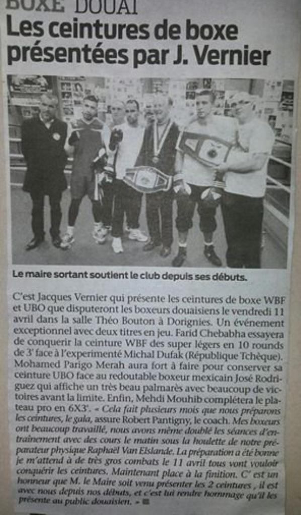 article de presse presentation des 2 ceintures pour le gala du 11 avril